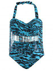 Plus Size High Waisted Bikini with Fringe Top - BLUE