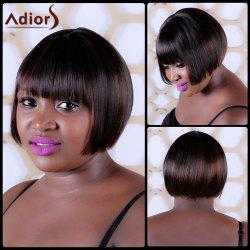 Short Synthetic Full Bang Straight Capless Wig - DEEP BROWN