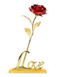 Long Stem Dipped Gold Foil Rose in Gift Box with Stand - RED