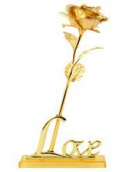 Long Stem Dipped Gold Foil Rose in Gift Box with Stand - GOLDEN