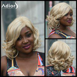 Adiors Side Part Fluffy Wavy Medium Synthetic Wig - LIGHT BLONDE