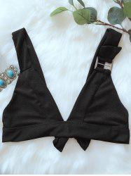 Plunging Tie Back Swim Cute Bikini Top - BLACK XL