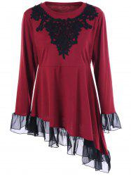Plus Size Asymmetric Crochet Ruffled T-Shirt