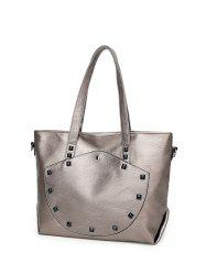 Faux Leather Rivet Shoulder Bag