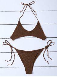 Scalloped Hem Halter Knitted Bikini