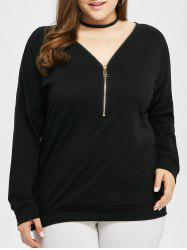 Plus Size Half Zipper Top