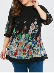 Plus Size Lace Trim Floral Blouse