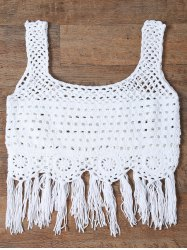 Cut Out Fringed Women's Tank Top - WHITE ONE SIZE(FIT SIZE XS TO M)
