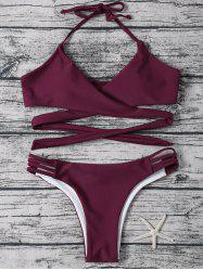 Strappy Halter Neck Wrap Bikini Set - PURPLISH RED