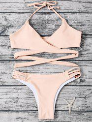 Strappy Halter Neck Wrap Bikini Set