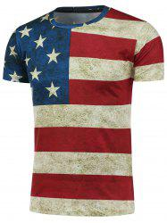 Short Sleeve Crew Neck Distressed American Flag T-Shirt - COLORMIX