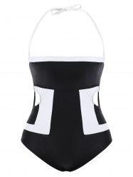 Casual Strapless Hit Color Plus Size One-Piece Women's Swimwear - BLACK
