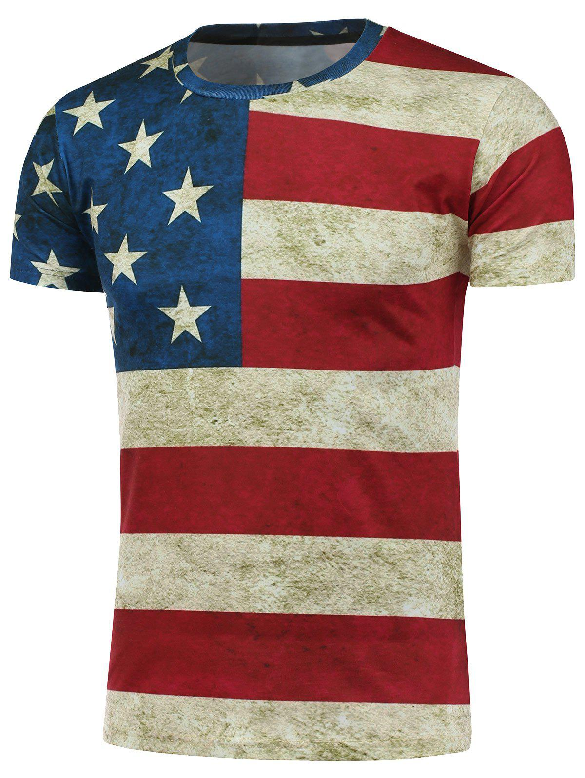 Short Sleeve Crew Neck Distressed American Flag T-ShirtMEN<br><br>Size: M; Color: COLORMIX; Style: Fashion; Material: Polyester; Sleeve Length: Short; Collar: Crew Neck; Pattern Type: Striped; Weight: 0.2430kg; Package Contents: 1 x Tee;
