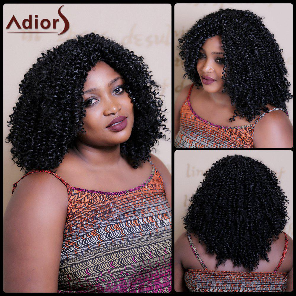 Image of Fluffy Afro Curly Capless Vogue Long Black Heat Resistant Fiber Wig For Women