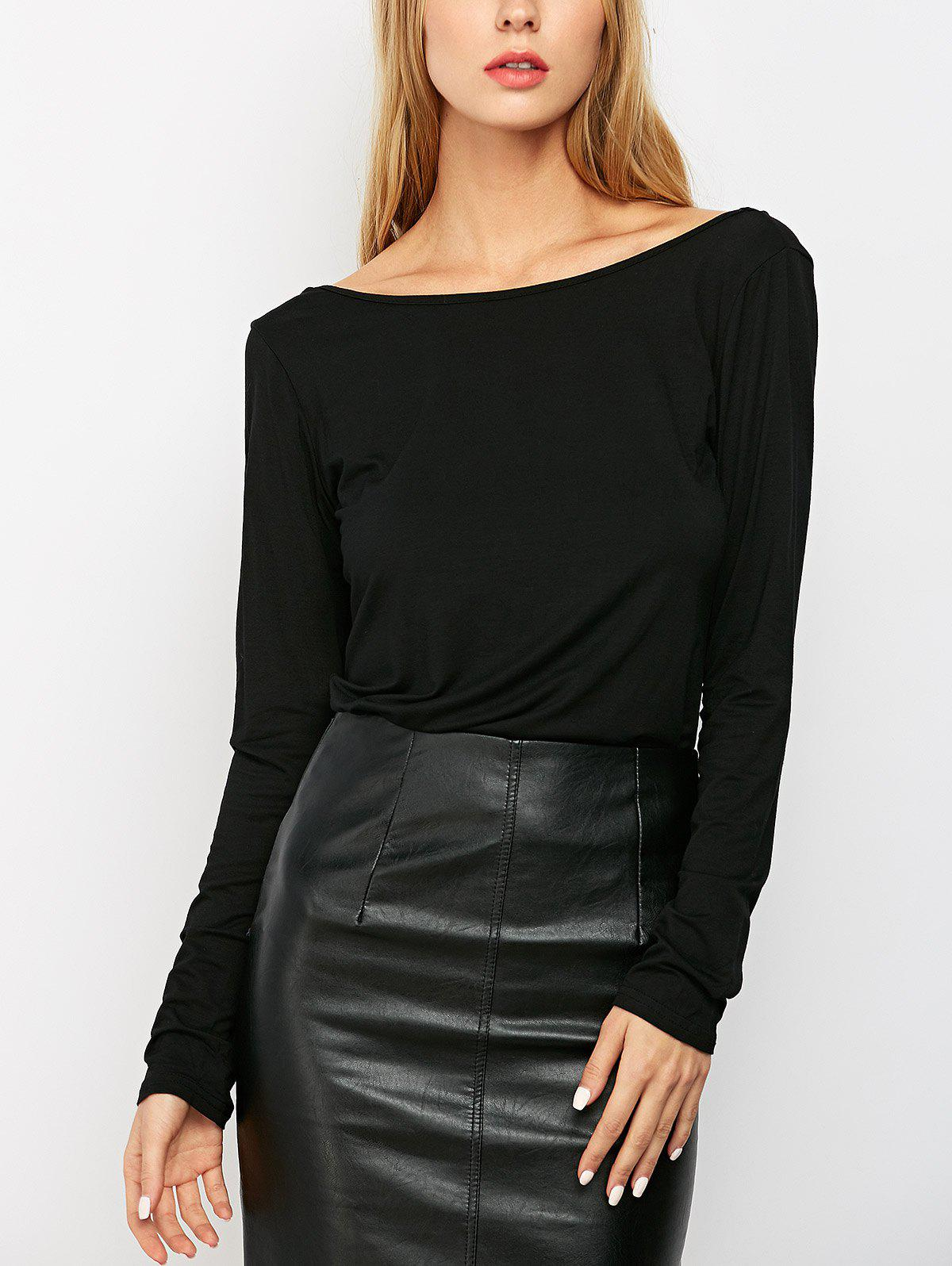 Fancy Solid Low Back T-Shirt