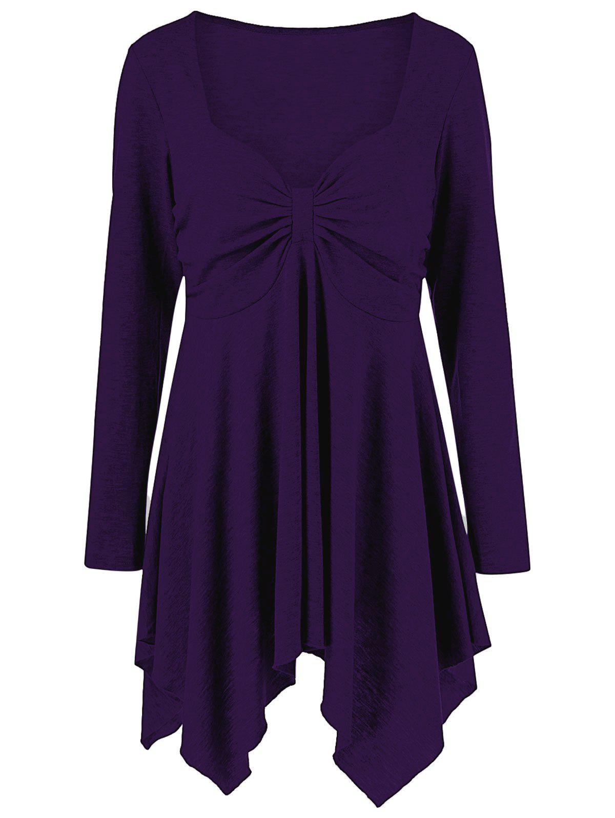 Purple Plus Size Sweetheart Neck Handkerchief Tunic T