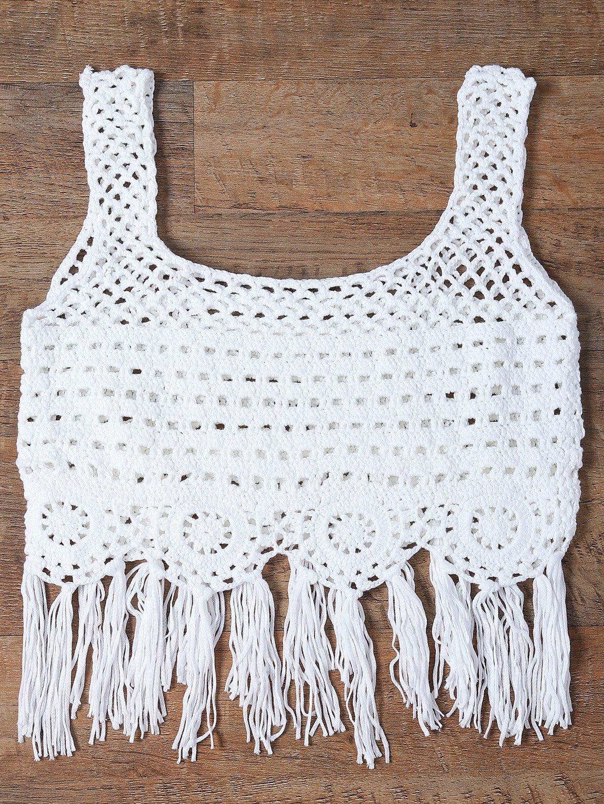 Online Cut Out Fringed Women's Tank Top
