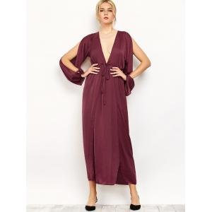 Slit Sleeve Flowing Maxi Plunge Dress -