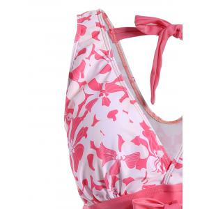Sweet V-Neck Floral Print Bowknot Embellished Swimsuit For Women - PINK 3XL