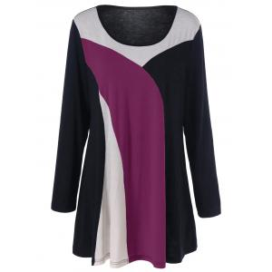 Color Block Longline Plus Size T-Shirt - Purple - 3xl