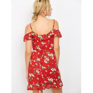 Floral Boho Mini Holiday Wrap Dress - RED M
