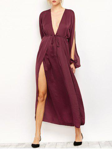 Outfits Slit Sleeve Flowing Maxi Plunge Dress