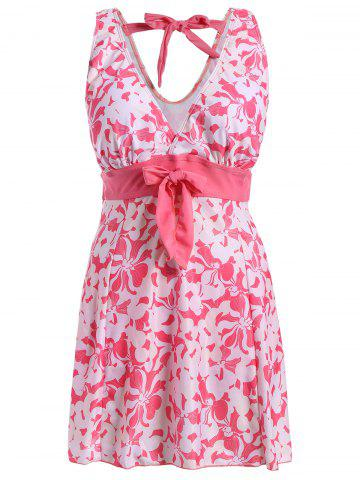 Outfits Sweet V-Neck Floral Print Bowknot Embellished Swimsuit For Women PINK 3XL