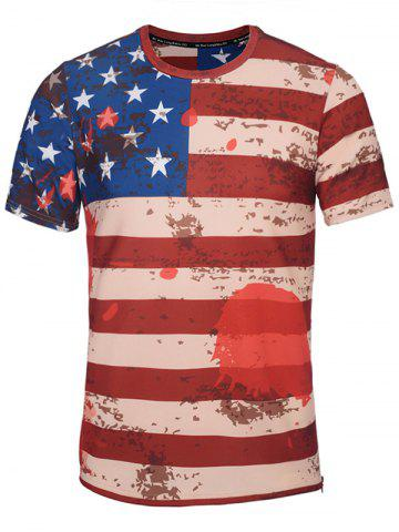 Crew Neck Distressed American Flag Print T-Shirt - Stripe - M