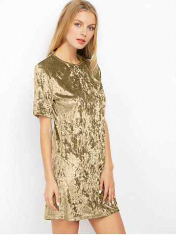 Fashion Mini Crushed Velvet Tunic Straight Shirt Dress - XL PEARL ARMY GREEN Mobile