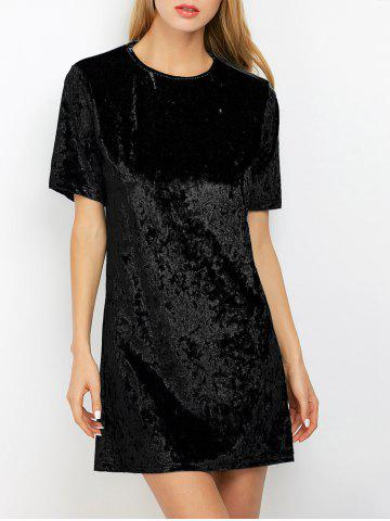 Mini Crushed Velvet Tunic Straight Shirt Dress - Black - M