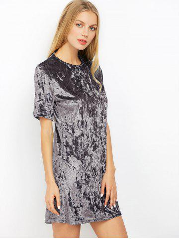 Unique Mini Crushed Velvet Tunic Straight Shirt Dress - XL SILVER GRAY Mobile