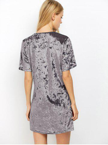 Cheap Mini Crushed Velvet Tunic Straight Shirt Dress - XL SILVER GRAY Mobile