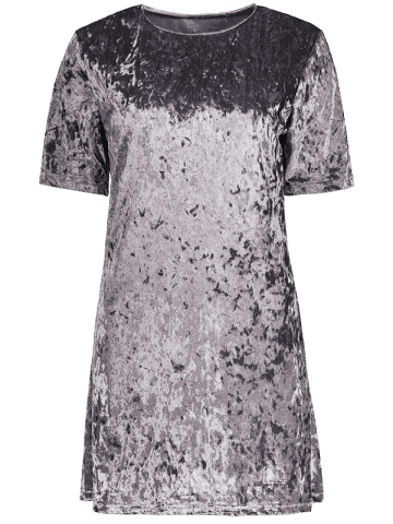 Best Mini Crushed Velvet Tunic Straight Shirt Dress - XL SILVER GRAY Mobile