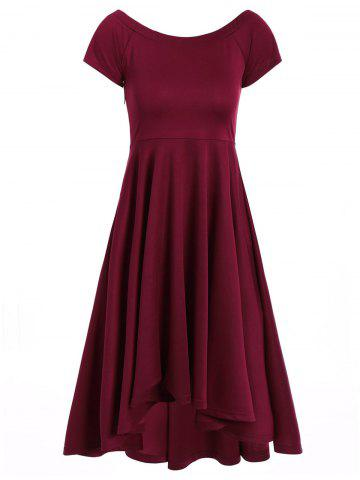 Hot Asymmetric Off-The-Shoulder Semi Formal Swing Dress WINE RED L