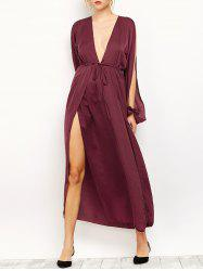 Slit Sleeve Flowing Maxi Plunge Dress