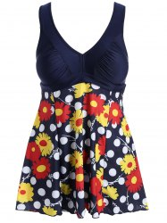 Sweet V-Neck Polka Dot and Flower Print Swimsuit For Women