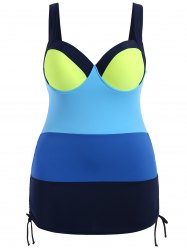 Simple Color Block Push Up One Piece Swimsuit For Women -