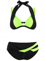 Color Block Cut Out Plus Size Bikini Set