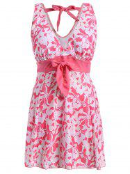 Sweet V-Neck Floral Print Bowknot Embellished Swimsuit For Women - PINK