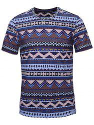 Crew Neck Tribal Print T-Shirt