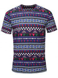 Crew Neck Tribal Print Tee - PURPLE