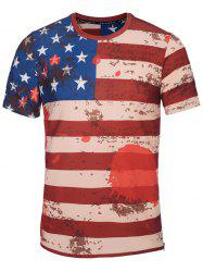 Crew Neck Distressed American Flag Print T-Shirt
