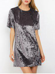 Mini Crushed Velvet Tunic Straight Shirt Dress - SILVER GRAY