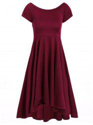 Asymmetric Off-The-Shoulder Semi Formal Swing Dress -