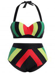 Plus Size High Waisted Contrast Bikini Set -