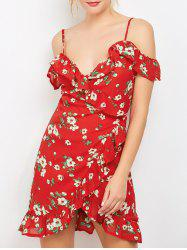 Floral Print Mini Wrap Dress - Rouge
