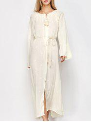 Embroidered Long Sleeve Casual Maxi Dress