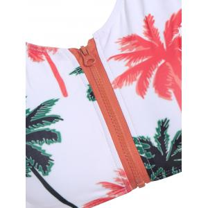 Palm Print High Waisted Bikini with Crop Top - WHITE L