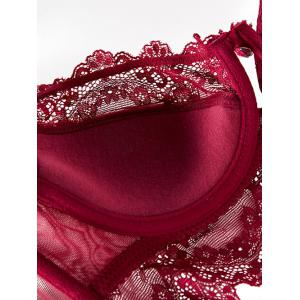 Push Up Lace Spliced Scalloped Panties and Bra Set - WINE RED 90D