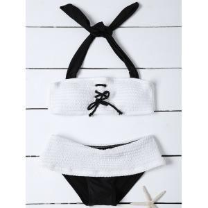 Lace Up Bandeau Bathing Suit